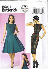 Vtg 50s Retro Rockabilly Straight Dress Back Detail Sewing Pattern 6 8 10 12 14