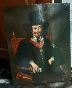 IMPORTANT ANTIQUE 17TH CENTURY OIL PORTRAIT PAINTING KING CHARLES I AT TRIAL MAN