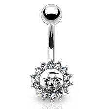 Piercing de Ombligo anillo sol color plata con TRANSPARENTES CIRCONIO Cristales
