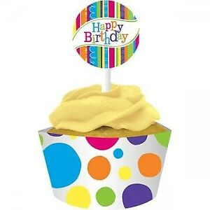 CUPCAKE WRAPPERS BIRTHDAY PACK OF 12 PARTY FAVOURS SUPPLIES