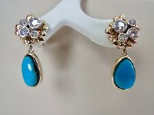 NEW! 18K & 14K YELLOW GOLD DIAMOND & NATURAL TURQUOISE DANGLE DROP EARRINGS