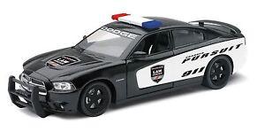 "NewRay Dodge Charger Pursuit Police 1:24 scale 8"" diecast model car Black"