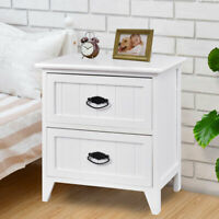 2 Drawers Nightstand Storage Wood End Table Bedroom Side Bedside White