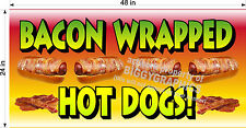 2' x 4' VINYL BANNER BACON WRAPPED HOT DOGS NEW