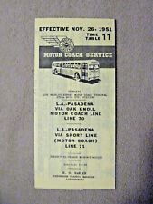 Pacific Electric Pocket Time Table - #11 - Pasadena via Oak Knoll - 11/26/51