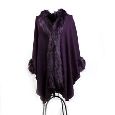 NEW WOMEN LADIES FAUX FUR PONCHO FLEECE FAUX FUR COLLAR AND CUFFS CAPE WRAP