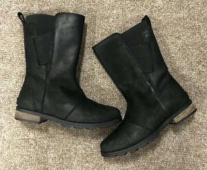 Sorel Emelie Mid Boots, Size 6, Black, Leather, Waterproof, Calf Length, Genuine