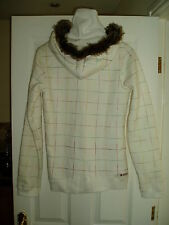 NEW Ladies ROXY PEARL White Zip Hoodied Jacket with Turtle Neck Size L RRP £85