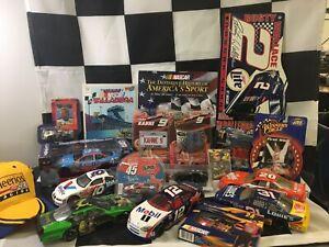 large NASCAR memorabilia lot diecast cars, Flags, Book, Signs, Hat, Petty, Kahne