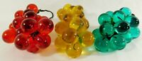 Set 3 Vintage Mid Century Red Green Amber Gold Lucite Grape Cluster on Driftwood