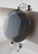 Premier Quality Grey Agate Gemstone Crystal/Silver Glass Bead Design Bracelet