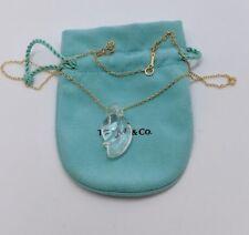 "Tiffany & Co. Elsa Peretti 18K Yellow Gold Rock Crystal Pendant Necklace - 18"""