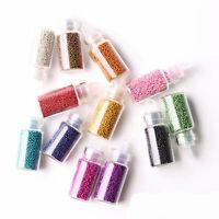 Nail Art 12x Caviar & Glitter Glass Mini Bottles Manicure Beads Balls Decoration