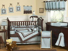 Unique Contemporary Modern Blue Brown Discount Cheap Baby Boy Crib Bedding Set