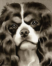 Cavalier King Charles Spaniel Art Print Sepia Watercolor Painting by Artist DJR