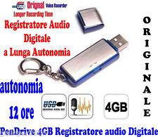 PENDRIVE 4GB REGISTRATORE VOCALE DIGITALE AUDIO AUTONOMIA OLTRE 12 ORE