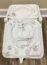 Antique Victorian Cast Iron Porcelain Enamel Coal Scuttle Hod Dragon Serpent