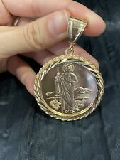YELLOW GOLD PLATED Rope Mexican Coin St Jude San Judas & Virgin Pendant