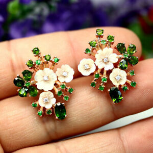 NATURAL CHROME GREEN DIOPSIDE MOTHER FO PEARL & CZ EARRINGS 925 SILVER STERLING