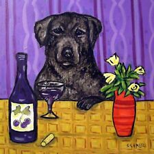 Black Labrador retriever at the wine bar dog art tile coaster gift artwork