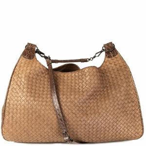 63463 auth BOTTEGA VENETA taupe INTRECCIATO & CROCODILE TRIM Hobo Shoulder Bag