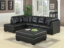 COOL CONTEMPORARY BLACK LEATHER SOFA SECTIONAL OTTOMAN LIVING ROOM FURNITURE SET