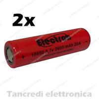2x Batteria ricaricabile litio 18650 2600mah 20A 8C e-cig sigaretta elettronica