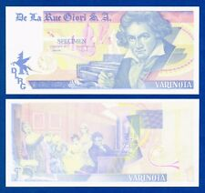 De La Rue Giori Varinota Beethoven Color Trial #8 - Specimen Test Note Unc