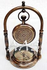 Antique Brass Desk Clock Nautical Pocket Watch With Maritime Ship Desk Compass