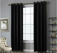 A pair Solid Window block Blinds 90% Blockout curtain eyelet black 160 220 240