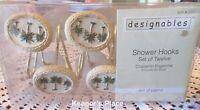 12 Designables Palm Tree ISLE OF PALMS Shower Curtain Hooks New