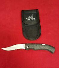 NEW Gerber Mini Gator Clip Point Serrated Folding Knife & Sheath
