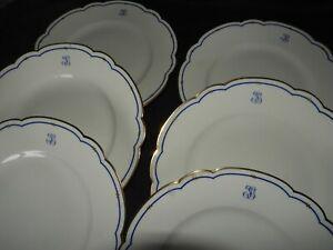 K] Porcelaine de Limoges HAVILAND (monogramme) décoré Paris (x6 assiettes lot 2)