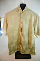 Pierre Cardin Men Hawaiian Button Up Shirt Size L Rayon Short Sleeve
