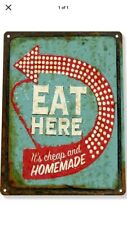"""TIN SIGN """"EAT HERE"""" Food Bar Cafe Diner Home cooked Kitchen Mancave Road Food By"""