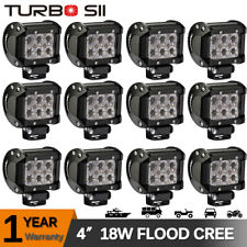 12PC 4'' INCH 18W LED Work Light Bar Flood Lamp Pods Cube Fit Boat Offroad JEEP