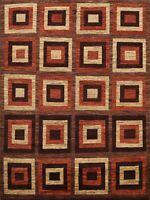 Geometric Modern Gabbeh Kashkoli Checked Oriental Area Rug Wool Hand-knotted 6x7