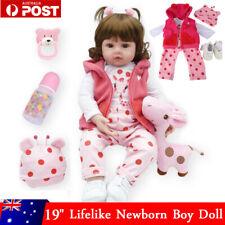 "19"" Lifelike Reborn Baby Dolls Handmade Newborn Vinyl Silicone Girl + Gift Box"
