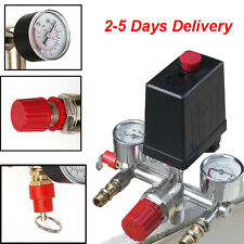 Air Compressor Pressure Control Switch Valve Manifold Regulator + Gauges Relief
