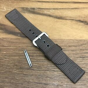 """rare Brown 1940s 11/16"""" Rayon Nylon Short 2pc military nos Vintage Watch Band"""
