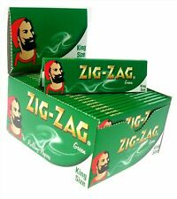 More details for 1 5 10 25 50 zig zag king size green smoking cigarette rolling papers genuine