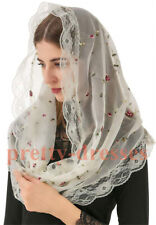 2021 Lace Mantilla Catholic for Church Chapel Veils Head Scarf Embroidery Floral