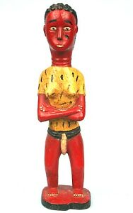 Art African - Antique Colon Baoulé Arm Crossed - Expression Very Naive - 30 CMS