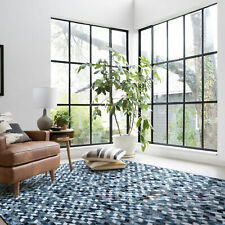 Large Rug Blue Grey Ivory Herringbone Zigzag Diamond Lounges Carpet 4 Sizes