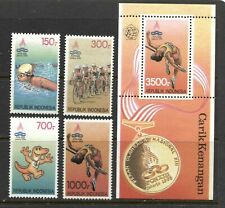 INDONESIA 1993, 13 TH NATIONAL SPORTS WEEK, Sc 1557-1561, 4 + SOUVENIR SHEET MNH