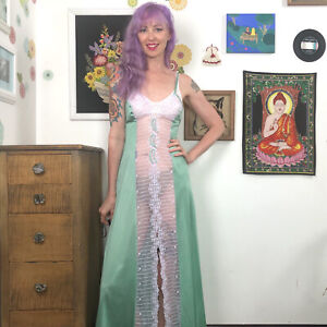 Vintage Sexy Nightgown, 1970s Hand Dyed Sheer Front Nightie Size M by Kayser