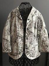 Chico's Jacket Women's Size 1 M(8/10) Coat Beige Tan Floral Paisley Ladies EUC