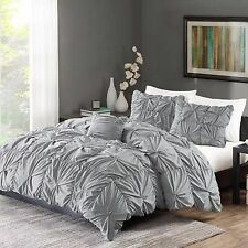 Ruched Bedding Set Gray King Size Bed Duvet Cover & Shams 4 Piece Twist New