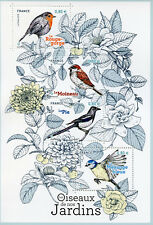 France 2018 MNH Garden Birds Blue Tit Sparrows Robins Magpies 4v M/S Stamps
