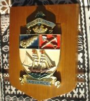 1 X WALL PLAQUE  18 X 13 X 3 CM WOOD & PLASTER ADVANCE AUCKLAND NEW ZEALAND HMS